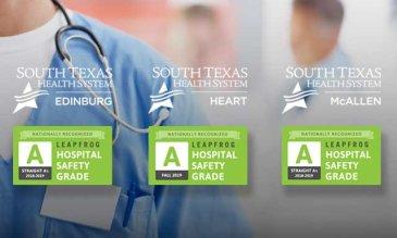 """¡A-sombroso! Tres hospitales deSouth Texas Health System obtienen la calificación """"A"""" en seguridad de los pacientes"""