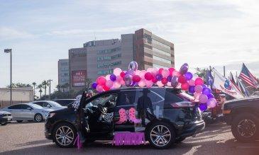 Community think pink parade vehicle